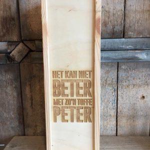 Houten fleskoffer voor peter