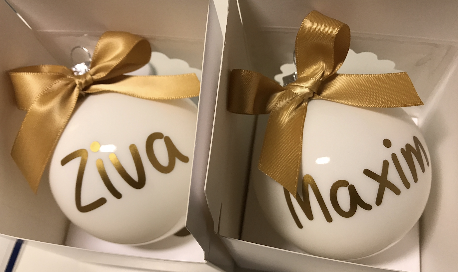 Kerstbal voor Ziva & Maxim
